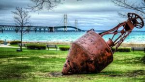 Old Mission Point Lighthouse Buoy & Mackinac Bridge