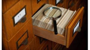 Library Card Catalog Drawer Search Concept