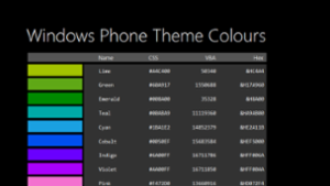Windows Phone Theme Colours