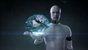 """Robot cyborg open palm, polygon Brain, grow future artificial intelligence""."