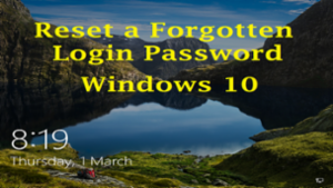 Reset Login Password in Windows 10