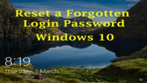 Reset Login Password in Windows 10
