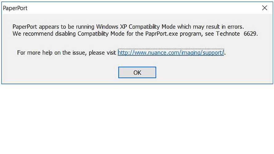How to fix: PaperPort appears to be running Windows XP Compatibility