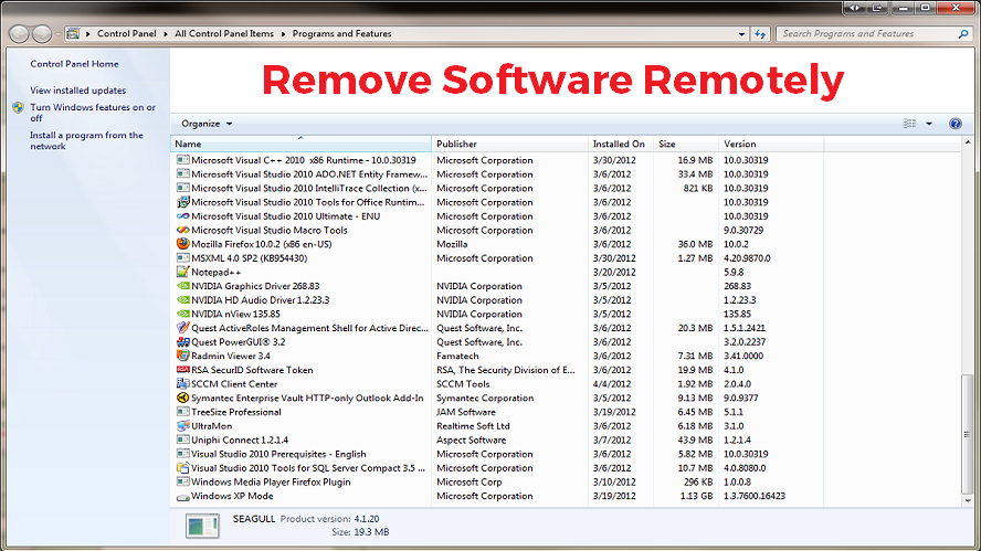 How to remotely remove software from a Computer (or batch of
