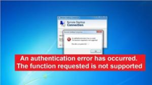 Remote Desktop Authentication Error -