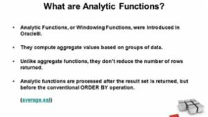 Introduction to Analytic Functions in Oracle
