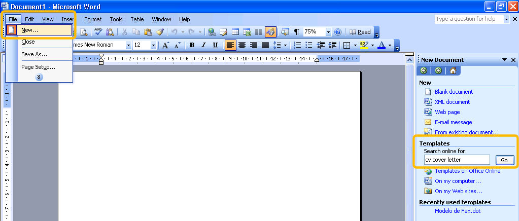 fax cover sheet template word 2003