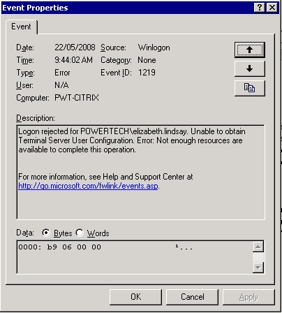 Problem with Windows Terminal Server 2003 - Logon rejected