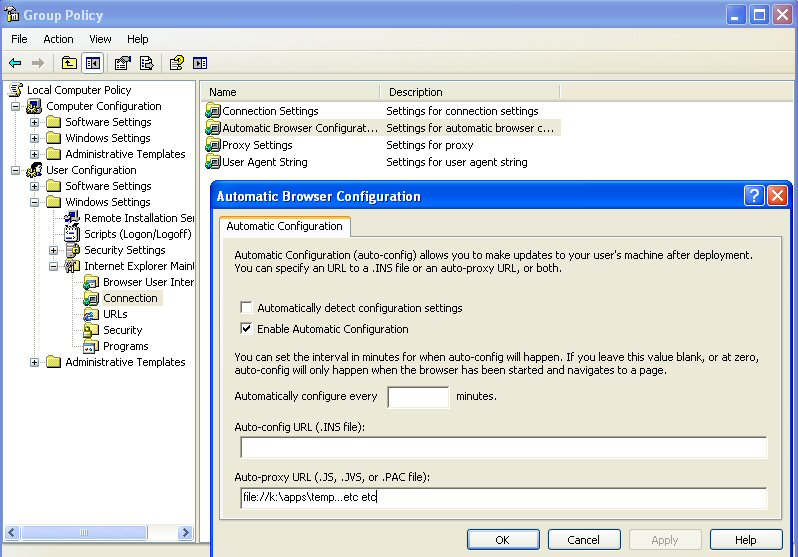 Location in Windows registry for  pac file