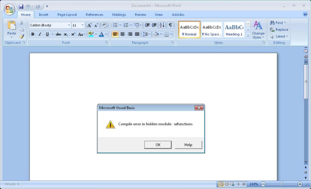compile error in hidden module excel 2007