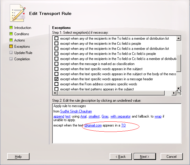 Transport Rules with an exception for a domain