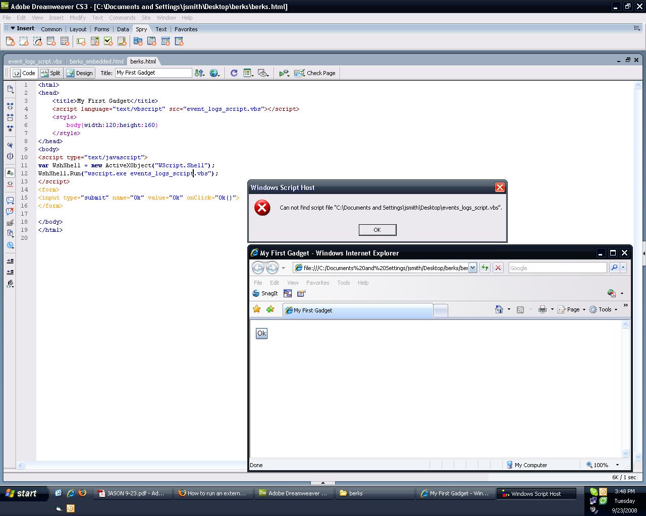 How to run an external vb script from a Sidebar Gadget using html or