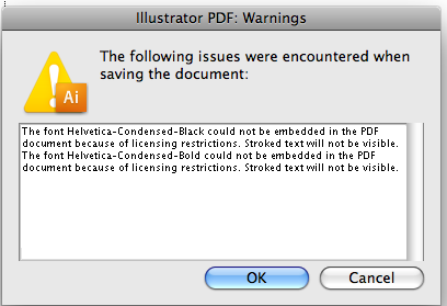 Helvetica could not be embedded in the PDF because of licensing