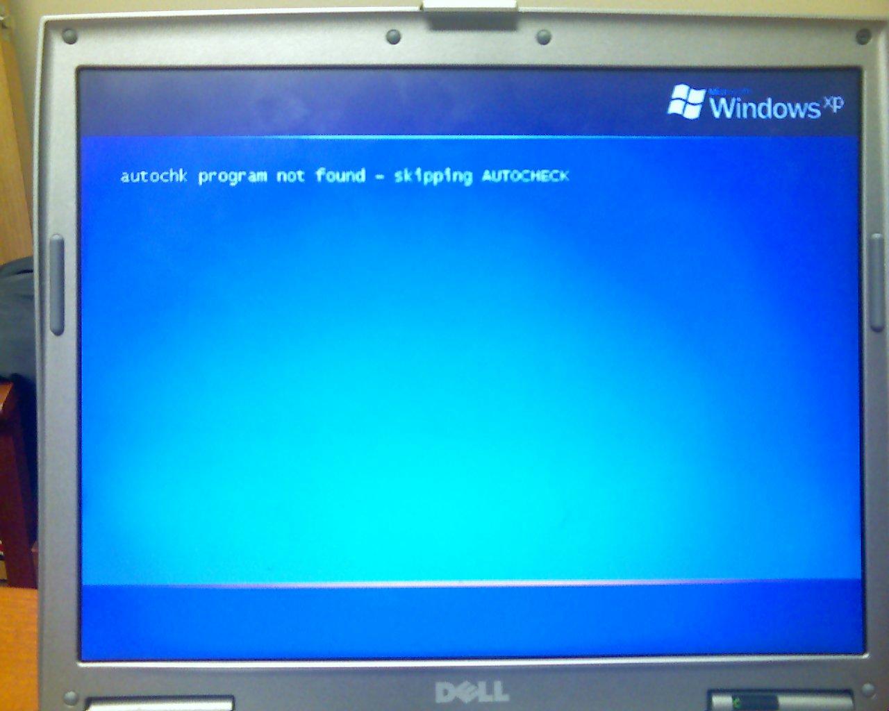 Autochk not found - Windows won\u0027t start