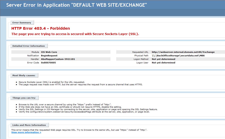 OWA access denied (Forbidden) error after moving mailbox