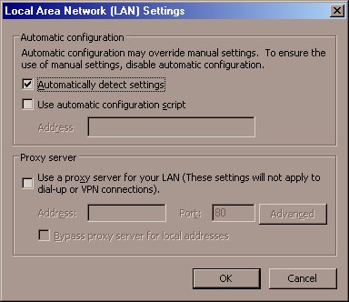 local area network lan settings automatically detect settings