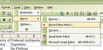 Tools -> Macro -> Record New Macro