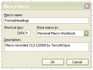 Enter macro name, shortcut key, workbook
