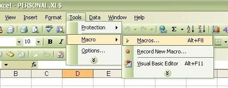 Tools -> Macro -> Macros