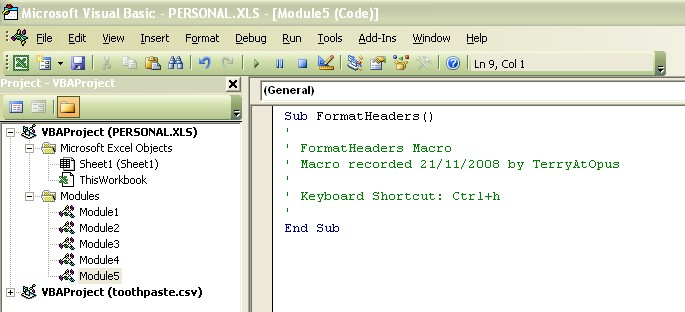 Microsoft Visual Basic window