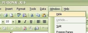 Window -> Hide