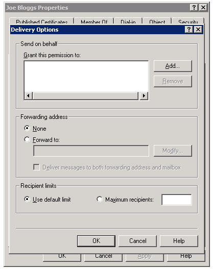 The Delivery Options dialog box