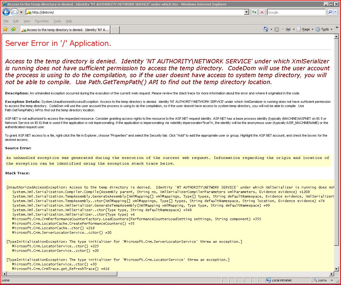 CRT4 - IIS - ASP NET2 - Access to the temp directory is denied