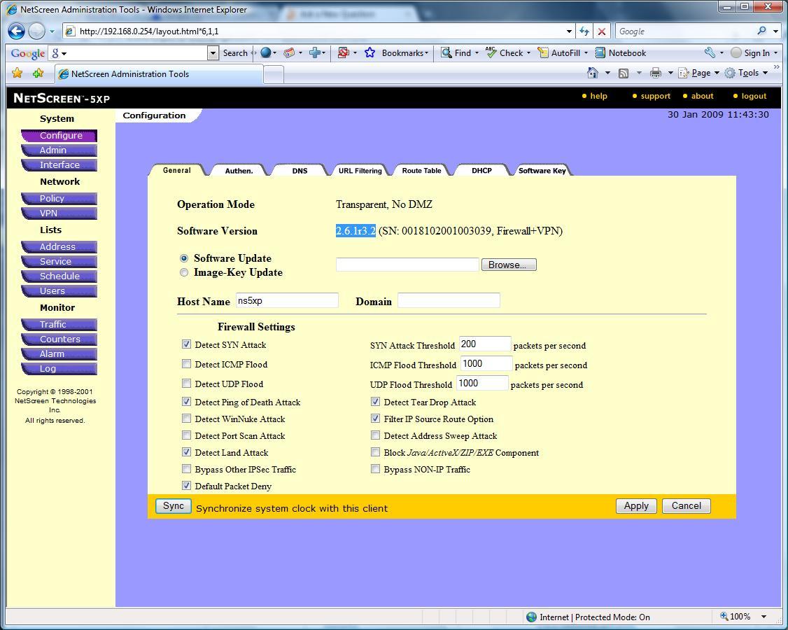 Change Operation Mode on Netscreen 5xp
