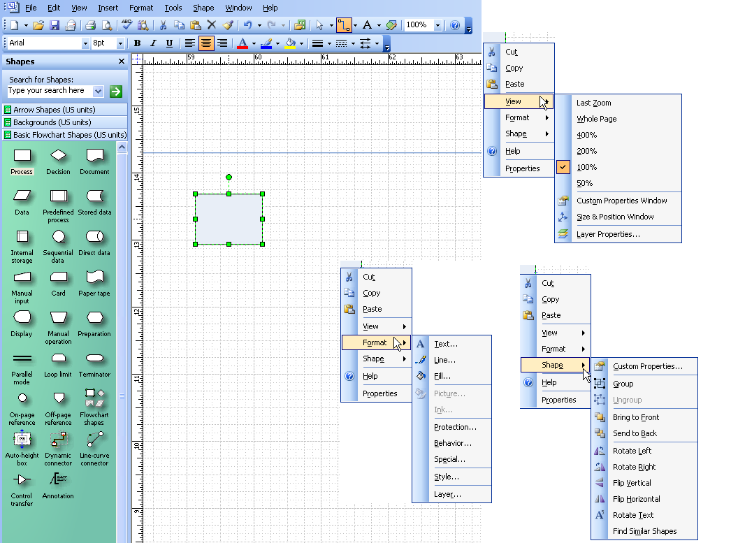 Change A Shape In Ms Visio Without Changing The Text Or Connections Process Flow Diagram 2007 Menus Ss