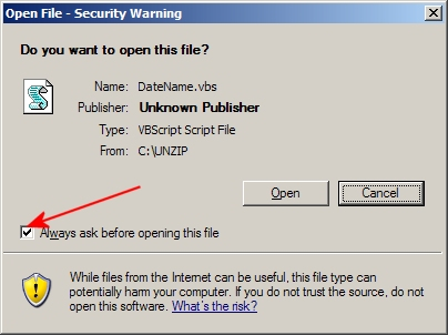 How do I suppress the Open File Security Warning when executing a