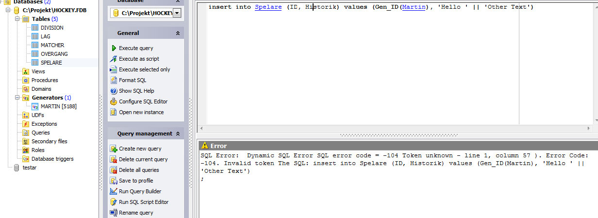 Firebird 2 1 Insert using BLOB TEXT