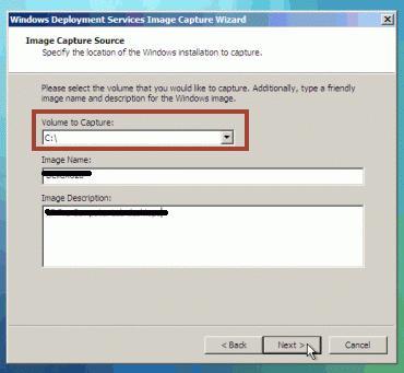 wds(windows deployment services )volume to capture blank