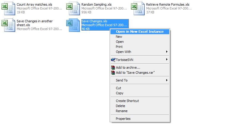 Excel files with the new menu item.