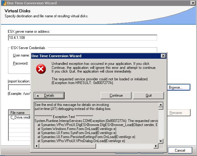 Symantec Livestate and ESXI - restoring image from  v2i
