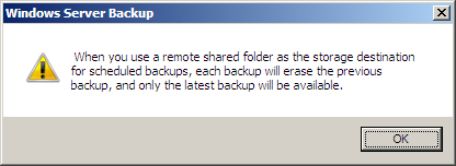 Shared Folder backups only keep the last copy