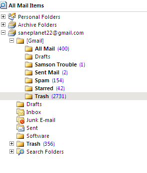 gmail imap  outlook