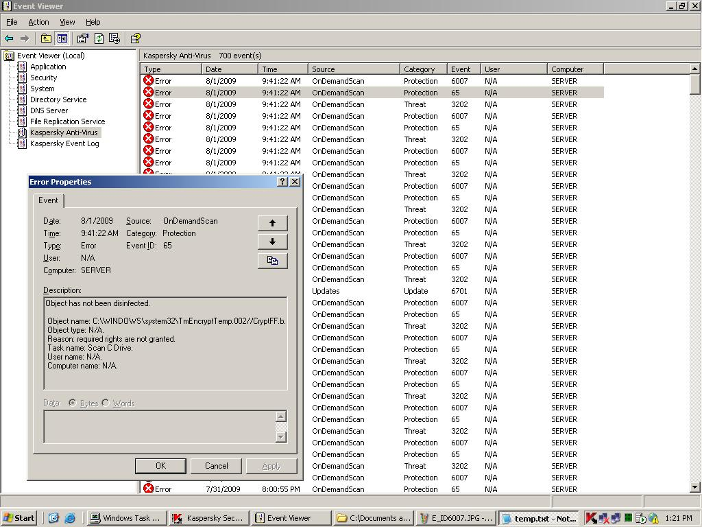 Errors on Event Viewer in Exchange Server   !