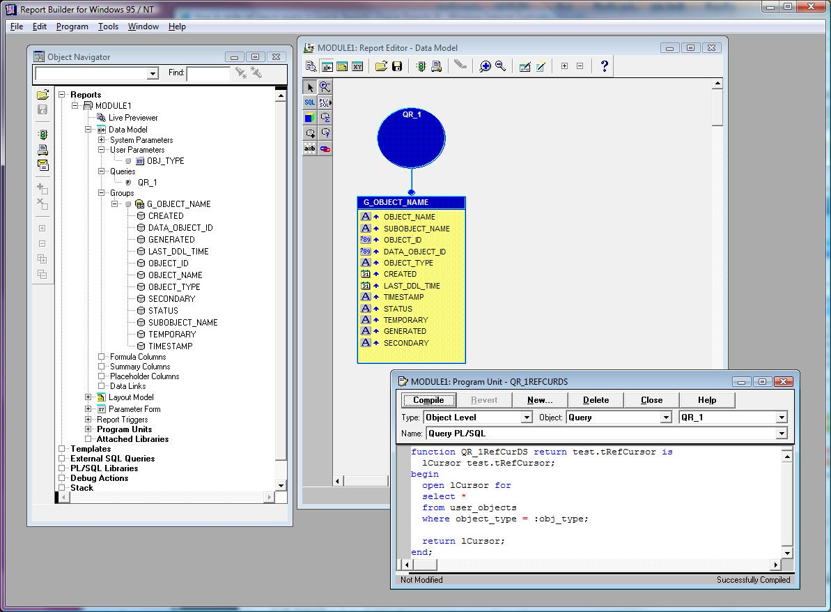 How to write ref cursor query in Oracle Reports