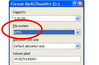 Format to use NTFS filesystem