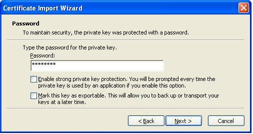 Enter password when importing the cert