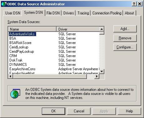 ODBC Admin System DSN Tab