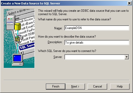 ODBC Setup Page 1