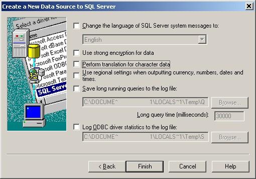 ODBC Setup Page 4