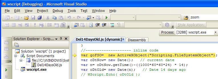 Script debugging in the IDE