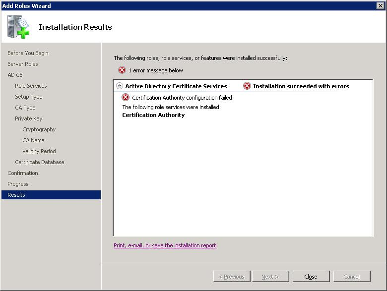 SOLUTION] Error Installing Certificate Services on Windows