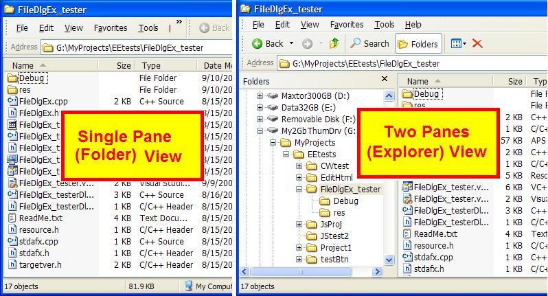 One-Pane vs. Two-Pane Explorer