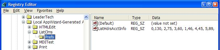 Save arrangement in the registry
