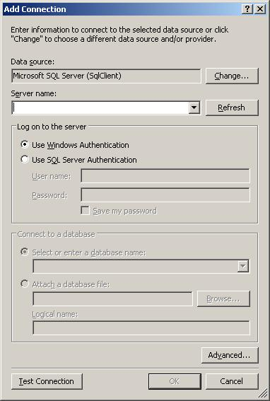 How to show sqlserver connection string builder gui and