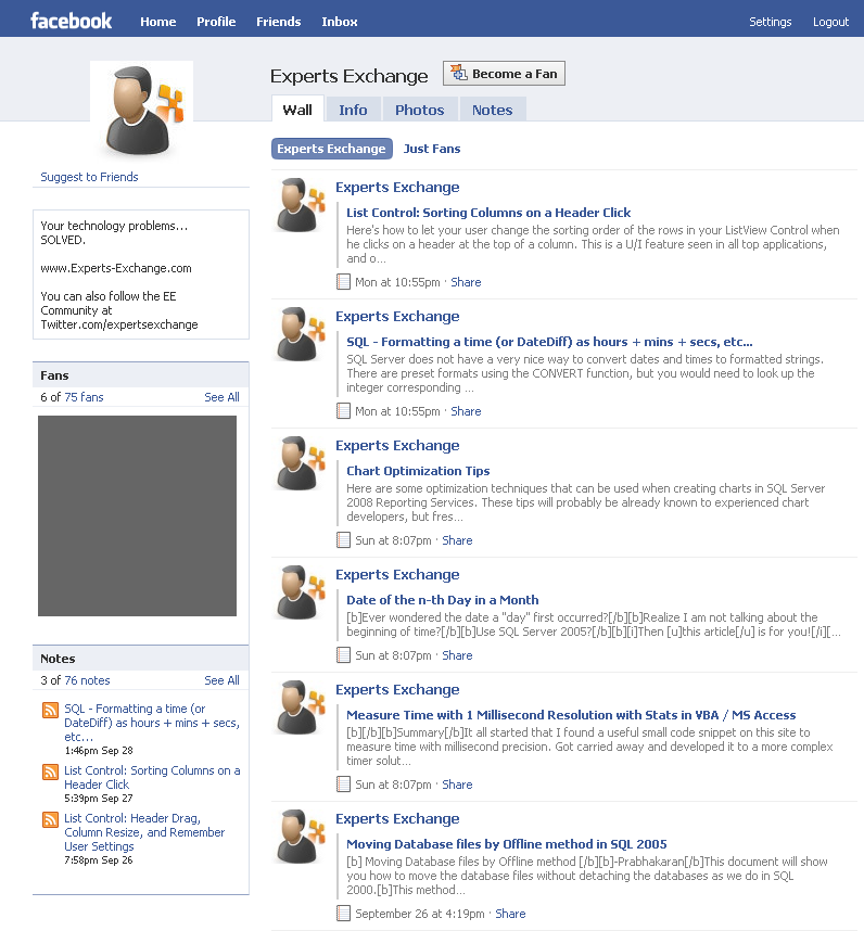 Adding a blog to Facebook, Screenshot 3.