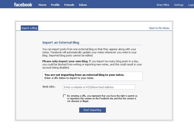 Adding a blog to Facebook, Screenshot 2.